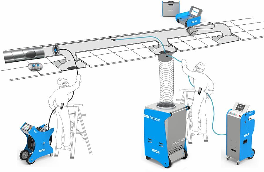 sistema de aspiración para limipeza de conductos